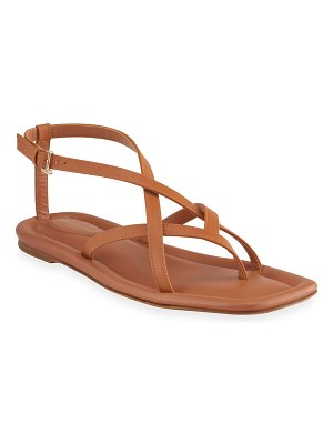 Lafayette 148 New York Camille Strappy Leather Flat Sandals