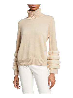 Lafayette 148 New York Cashmere Turtleneck Sweater with Mink
