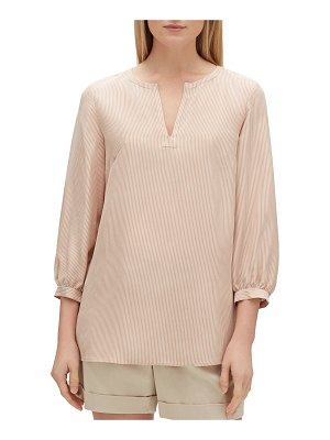 Lafayette 148 New York Gaia Signore Stripe V-Neck 3/4-Sleeve Silk Blouse