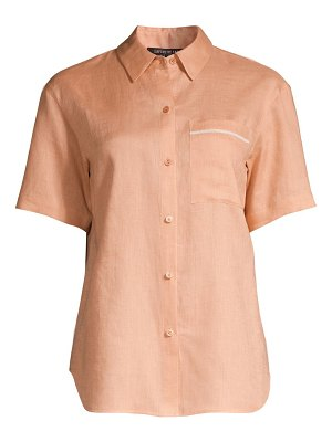 Lafayette 148 New York linen tie front short sleeve blouse