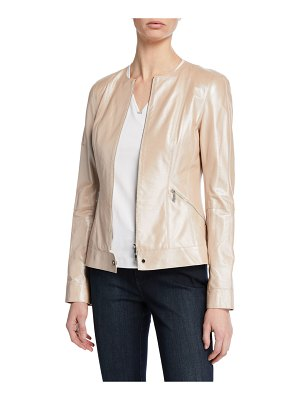 Lafayette 148 New York Mick Zip-Front Pearlized Nappa Lambskin Leather Jacket