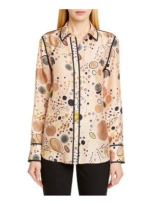 Lafayette 148 New York scottie print silk shirt