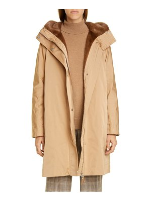 Lafayette 148 New York sinclair couture cloth coat with genuine mink fur trim