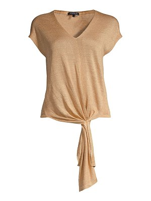 Lafayette 148 New York tie-front linen-blend knit top