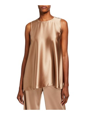Lafayette 148 New York Zorianna Reverie Satin Cloth Sleeveless Blouse