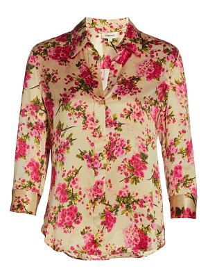 L'Agence dani three-quarter sleeve floral silk blouse