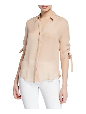 L'Agence Isa Shirred-Sleeve Collared Button-Up Blouse