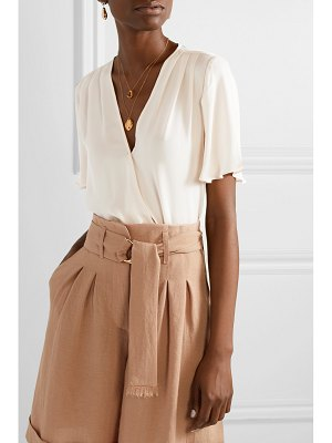 L'Agence karan wrap-effect silk-chiffon top
