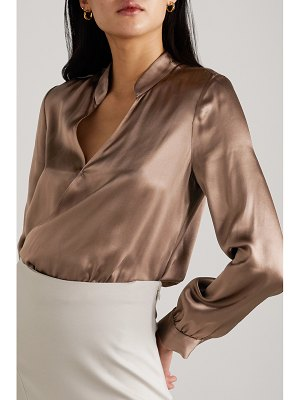 L'Agence marcella wrap-effect silk-satin and stretch-jersey bodysuit
