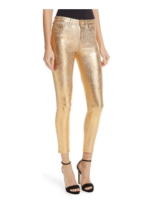 L'Agence margot metallic coated crop skinny jeans