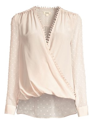 L'Agence perry silk fabric-blocked draped blouse