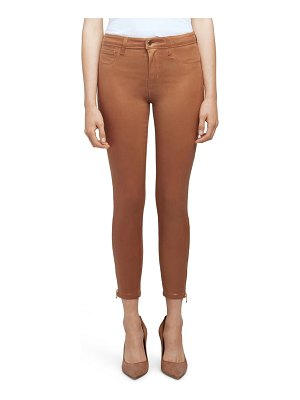 L'Agence sabine coated high waist ankle zip crop skinny jeans