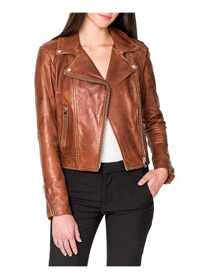 LaMarque Donna Hand-Waxed Leather Moto Jacket