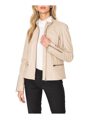 LaMarque Meryl Snap Stand Collar Leather Moto Jacket