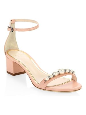 LANVIN Embellished Leather Ankle-Strap Sandals