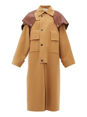 Lanvin leather-cape oversized wool-blend coat