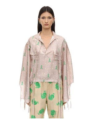 Lanvin Printed silk satin maxi shirt