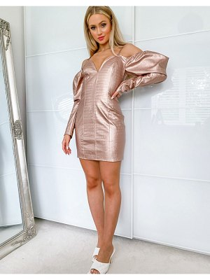 Lashes Of London pu cold shoulder mini dress with puff sleeve detail in rose gold