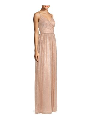 Laundry by Shelli Segal crisscross bodice metallic dress