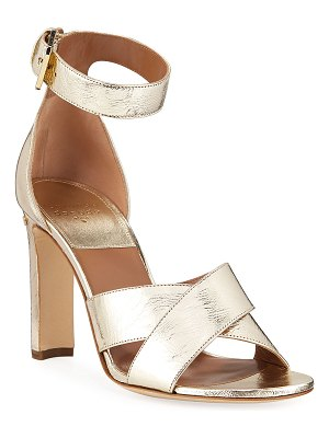 Laurence Dacade Metallic Crisscross Ankle-Wrap Sandals