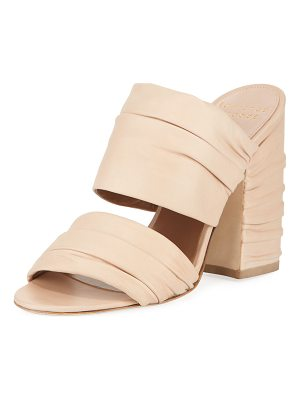 LAURENCE DACADE Rona Ruched Leather Slide Sandal