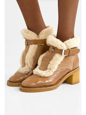 Laurence Dacade snow shearling-trimmed glossed-leather and suede ankle boots