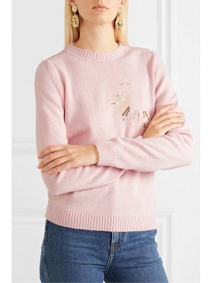 Le Lion pisces embellished embroidered wool sweater