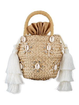 Le Nine Carol Starshells Natural Straw Bag with Strap