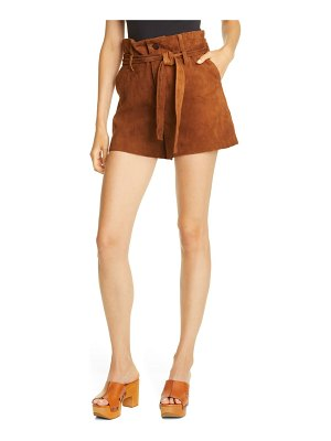 Le Superbe almost famous suede paperbag waist shorts