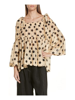 LEE MATHEWS minnie polka dot cotton & silk cold shoulder top