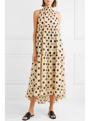 LEE MATHEWS minnie polka-dot silk and cotton-blend halterneck dress
