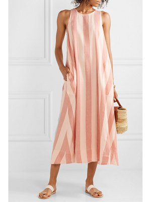 LEE MATHEWS sufi striped linen and cotton-blend voile midi dress