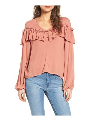 LEITH Cascade Ruffle Balloon Sleeve Top