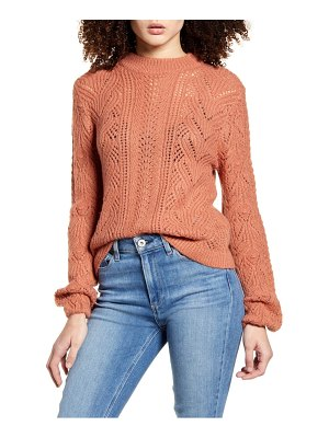 Leith cozy pointelle blouson sleeve sweater