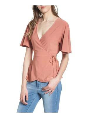 Leith flounce sleeve faux wrap top