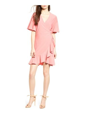 LEITH Flounce Sleeve Wrap Dress