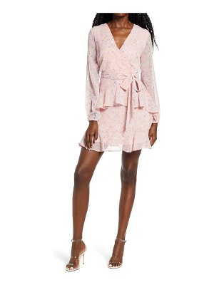 Leith long sleeve wrap front minidress