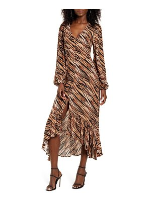 Leith print button front long sleeve maxi dress