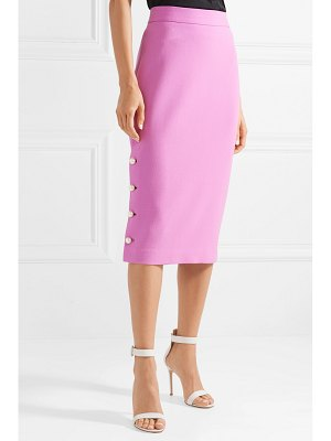 Lela Rose faux pearl-embellished wool-blend crepe pencil skirt