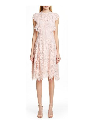Lela Rose flutter sleeve lace dress
