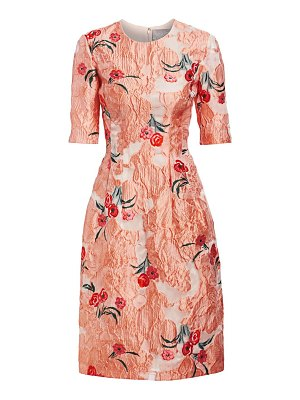 Lela Rose holly elbow-sleeve floral a-line dress