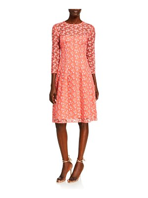 Lela Rose Holly Floral Embroidered Tulle Dress