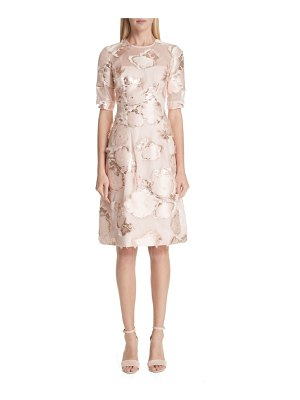 Lela Rose holly floral fil coupe fit & flare dress