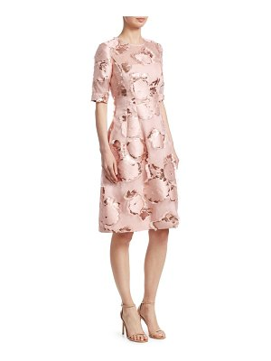 Lela Rose holly floral fringe a-line dress