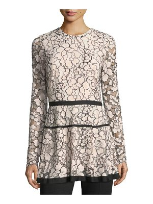 LELA ROSE Jewel-Neck Long-Sleeve Lace Peplum Top