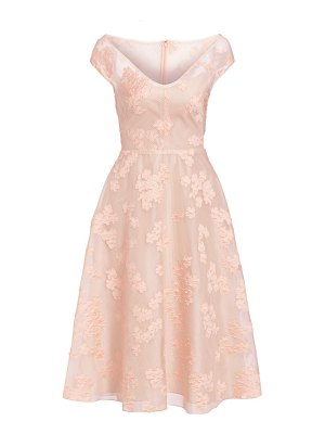 Lela Rose open neck fil coupé floral fit-&-flare dress