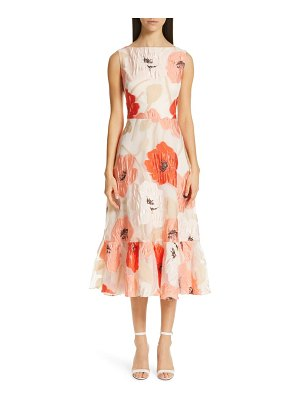 Lela Rose oversize floral fil coupe midi dress