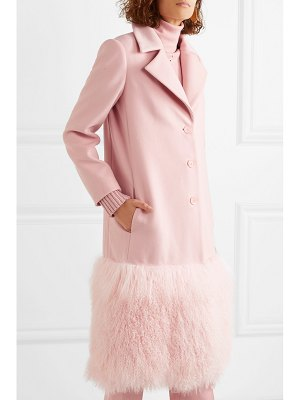 Lela Rose shearling-trimmed wool coat