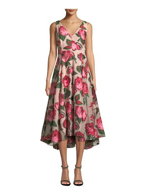 Lela Rose V-Neck Sleeveless Rose Fil Coupe Dress