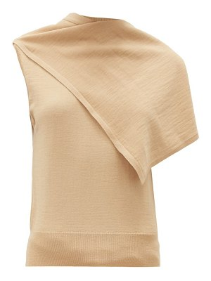 LEMAIRE draped-panel merino wool-blend jersey top